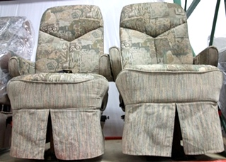 USED FLEXSTEEL FLORAL DESIGNED RV/MOTORHOME CAPTAIN CHAIR SET
