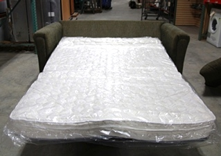 USED RV/MOTORHOME FLIP OUT SLEEPER SOFA WITH ACCENT PILLOWS
