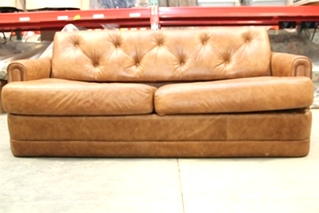 USED RV/MOTORHOME FURNITURE FROM MONACO SIGNATURE EXECUTIVE - BROWN LEATHER SLEEPER FLIP OUT SOFA (NO MATTRESS)