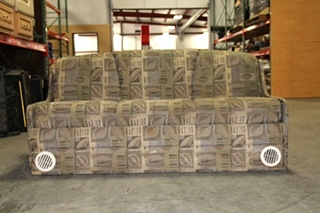 USED RV/MOTORHOME GREEN FLORAL SLEEPER SOFA WITH VENTS