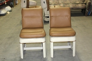 USED RV/MOTORHOME DINETTE CHAIR SET | 2 TONE BEIGE LEATHER