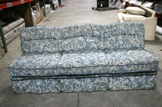 USED RV/MOTORHOME BLUE FLORAL CLOTH FOLD-DOWN SLEEPER SOFA