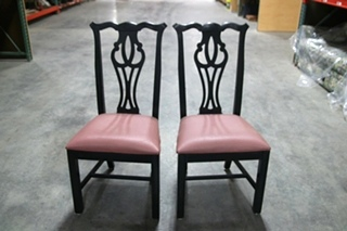 SET OF 2 USED BLACK AND RED RV DINETTE CHAIRS