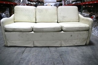 USED RV/MOTORHOME VANILLA LEATHER RECOVERABLE FOLD OUT SLEEPER SOFA