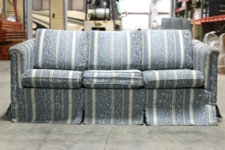 USED FLIP OUT SOFA SLEEPER & MATTRESS - BLUE FLORAL DESIGNS