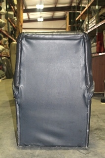 USED RV/MOTORHOME BLUE LEATHER PREVOST SWIVEL RECLINING CHAIR *RECOVERABLE*