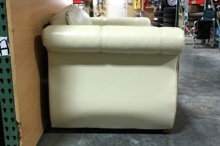 USED LEATHER/SUEDE FLEXSTEEL LOVESEAT WITH FOOT REST FOR SALE