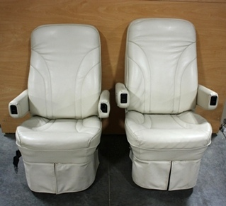 USED RV FLEXSTEEL LEATHER CAPTAIN CHAIR SET FOR SALE