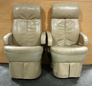USED FLEXSTEEL TAN LEATHER CAPTAIN CHAIR SET FOR SALE
