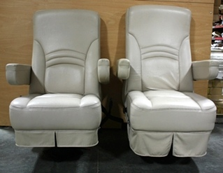 USED RV LEATHER SET OF 2 CAPTAIN CHAIRS FOR SALE