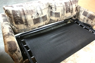 USED RV CLOTH SLEEPER SOFA WITH ACCENT PILLOWS FOR SALE