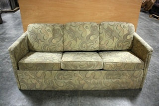 USED RV SWIRL PATTERN CLOTH PULL OUT SLEEPER SOFA FOR SALE