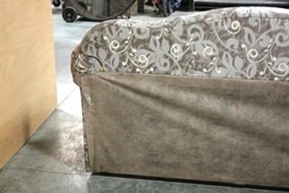 USED CHARCOAL & GRAY LEAF PATTERN CLOTH SLEEPER SOFA FOR SALE