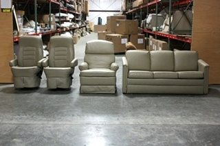 USED FLEXSTEEL ULTRA LEATHER RV FURNITURE SET FOR SALE
