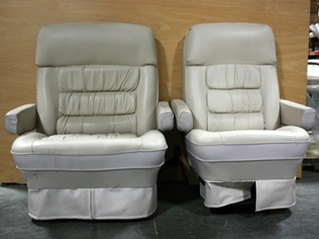 USED MOTORHOME SET OF 2 HI-TECH KUSTOM FIT TWO-TONE LEATHER CAPTAIN CHAIRS FOR SALE