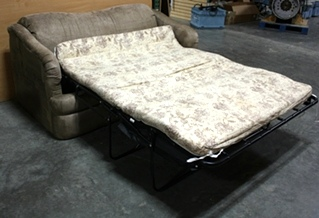 USED RV TAN MICROFIBER CLOTH SLEEPER SOFA FOR SALE