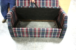 USED MOTORHOME CLOTH PLAID LOVESEAT FOR SALE