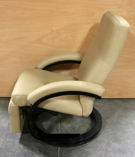 USED RV LEATHER BEIGE EURO CHAIR FOR SALE