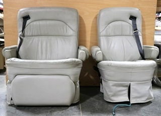 USED SET OF 2 GRAY HI-TECH KUSTOM FIT MOTORHOME CAPTAIN CHAIRS RV FURNITURE FOR SALE