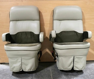 USED LEATHER & SUEDE FLEXSTEEL RV CAPTAIN CHAIR SET MOTORHOME FURNITURE FOR SALE