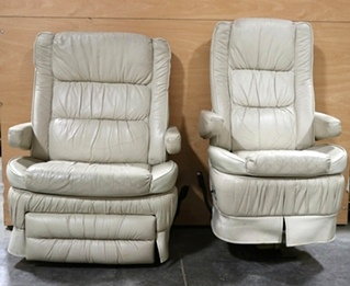 USED MOTORHOME LEATHER CAPTAIN CHAIR SET RV FURNITURE FOR SALE