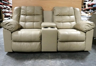 USED LEATHER RV LOVESEAT WITH CUP HOLDERS MOTORHOME FURNITURE FOR SALE