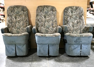 USED RV SET OF 3 FLEXSTEEL CAPTAIN CHAIRS WITH 3RD PASSENGER CHAIR FOR SALE