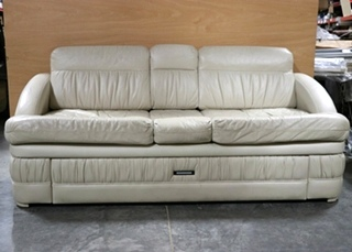 USED MOTORHOME LEATHER COUCH WITH STORAGE DRAWER FOR SALE