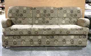 USED MOTORHOME FLIP OUT / JACK KNIFE CLOTH CIRCLE PATTERN SLEEPER SOFA RV FURNITURE FOR SALE