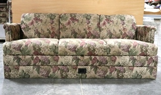 USED RV FLORAL PATTERN CLOTH JACK KNIFE SLEEPER SOFA MOTORHOME FURNITURE FOR SALE