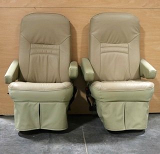 USED MOTORHOME TWO-TONE SET OF 2 CAPTAIN CHAIRS RV FURNITURE FOR SALE