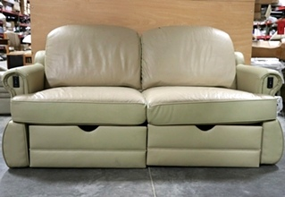 USED TWO-TONE RV ELECTRIC SLEEPER SOFA MOTORHOME FURNITURE FOR SALE