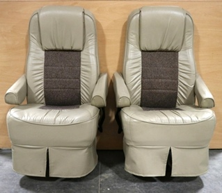 USED RV VINYL & CLOTH CAPTAIN CHAIR SET MOTORHOME FURNITURE FOR SALE