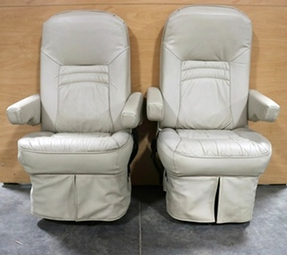 SET OF 2 USED RV VINYL CAPTAIN CHAIRS MOTORHOME FURNITURE FOR SALE