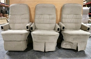 USED CLOTH MOTORHOME FLEXSTEEL CAPTAIN CHAIR SET WITH 3RD PASSENGER CHAIR RV FURNITRE FOR SALE